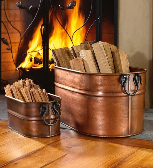 Copper Plated Firewood Tub