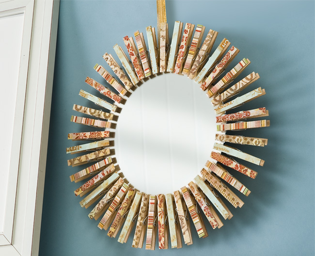 DIY Clothespin Mirror