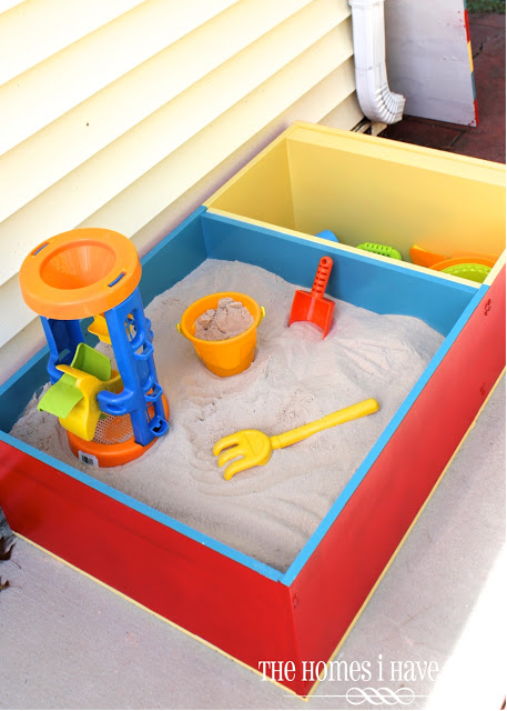 DIY Color-Block Sandbox from a Bookcase