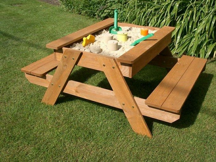 DIY Combo of Kids Picnic Table and Sandbox
