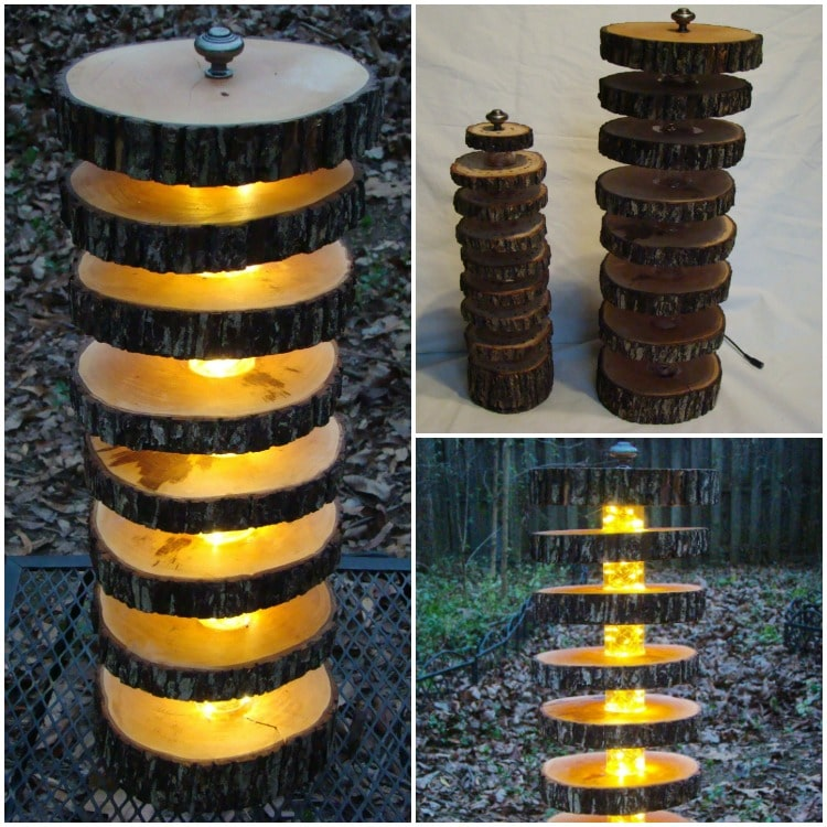 DIY Floor Lamp With Logs