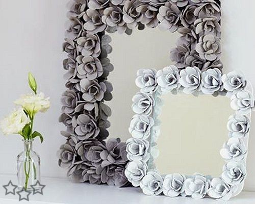 DIY Flower Mirror Frame From Egg Carton