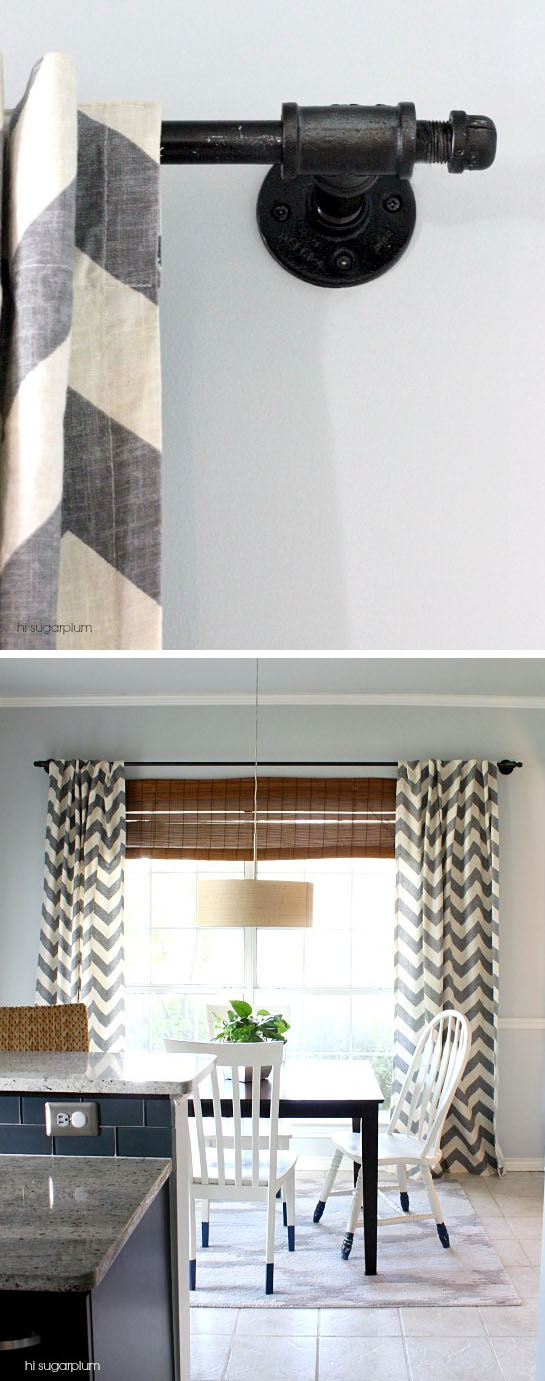 DIY Galvanized Pipe Curtain Rod