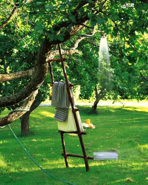 DIY Garden Hose Shower on A Tree