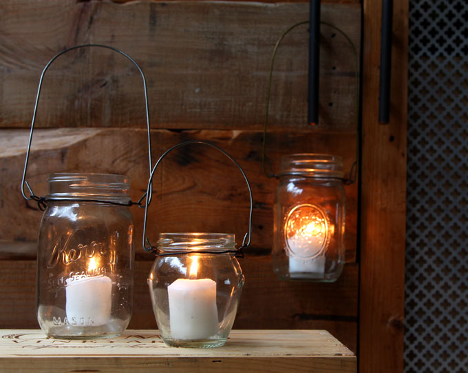 DIY Hanging Mason Jar Lights
