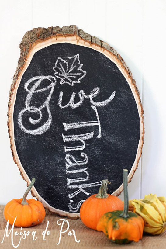 DIY Log Chalkboard
