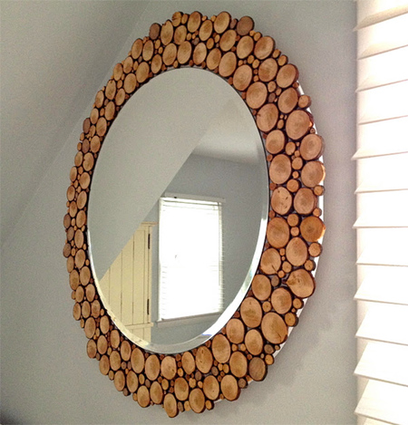 DIY Mirror Framed With Cut Branches