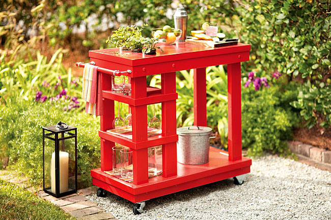 DIY Outdoor Serving Cart