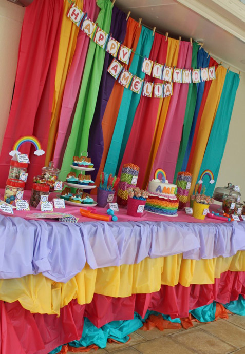 DIY Rainbow Ruffle Tablecloth