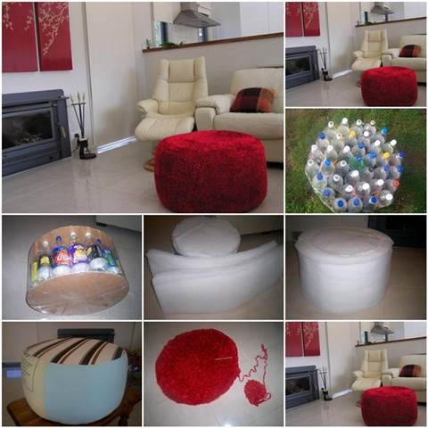 DIY Simple Ottoman from Plastic Bottles