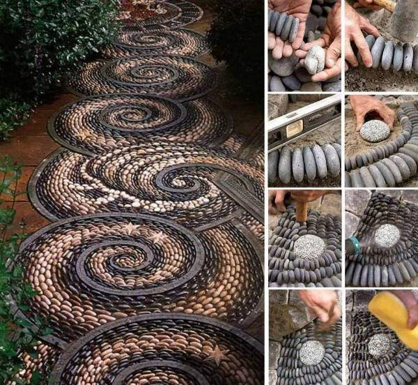 DIY Spiral Mosaic Path