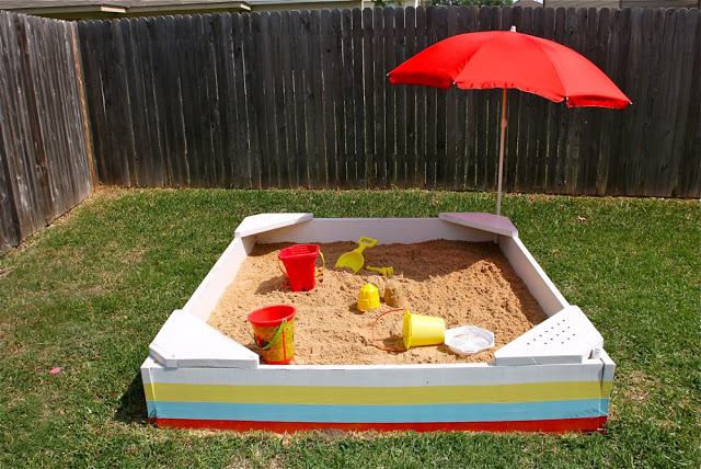 DIY Striped Sandbox