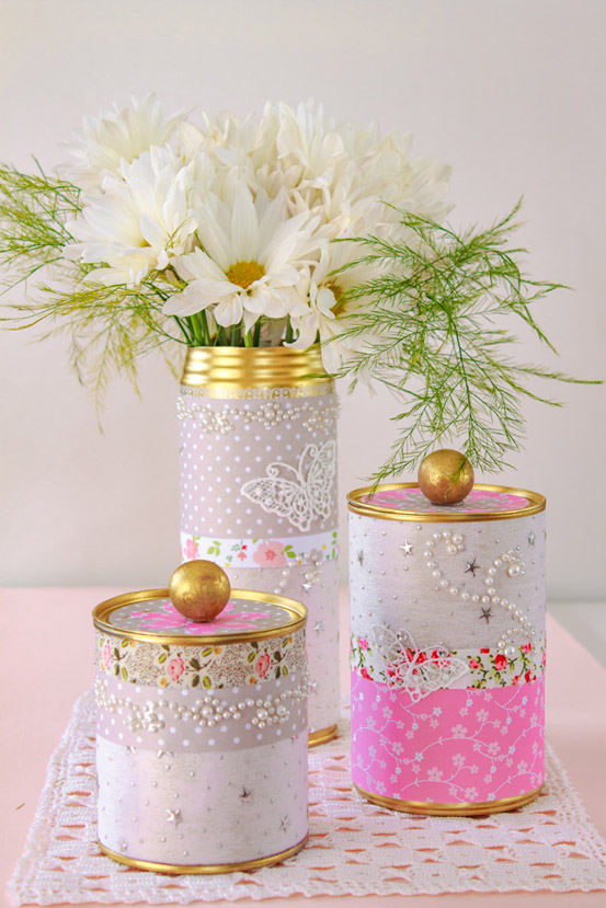 DIY Upcycled Tin Can Storage