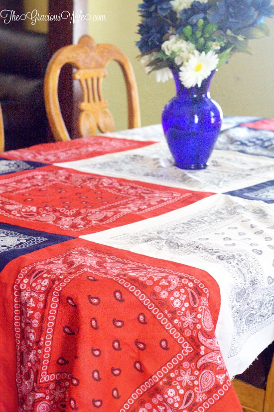 Patriotic DIY Bandana Tablecloth