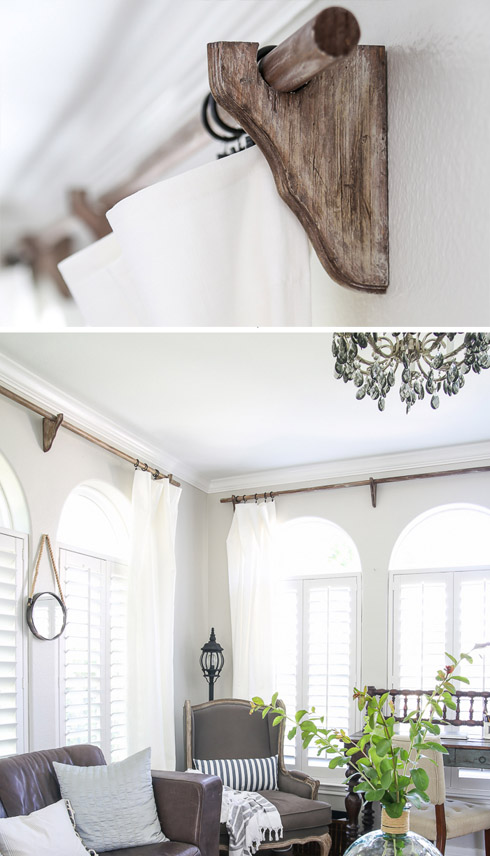 Restoration Hardware Inspired Wooden Curtain Rods