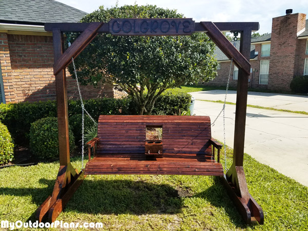 DIY Porch Swing With Center Console by MyOutdoorPlans