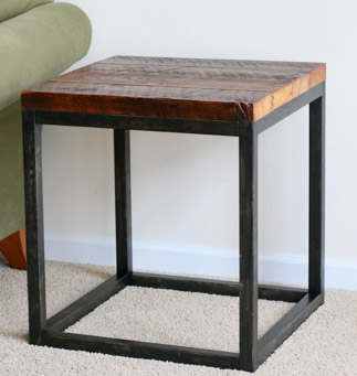 DIY Reclaimed Industrial Side Table