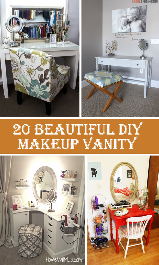 20 beautiful diy makeup vanity diys to do 20 beautiful diy makeup vanity solutioingenieria Image collections