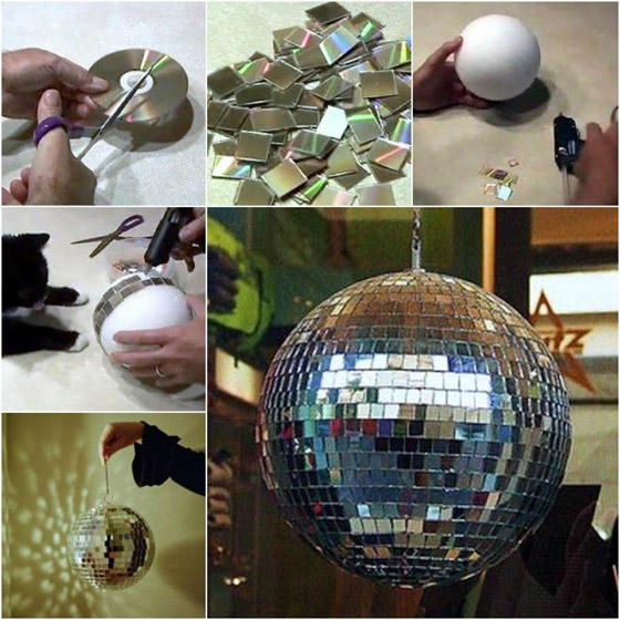 DIY Disco Ball with Old CDs