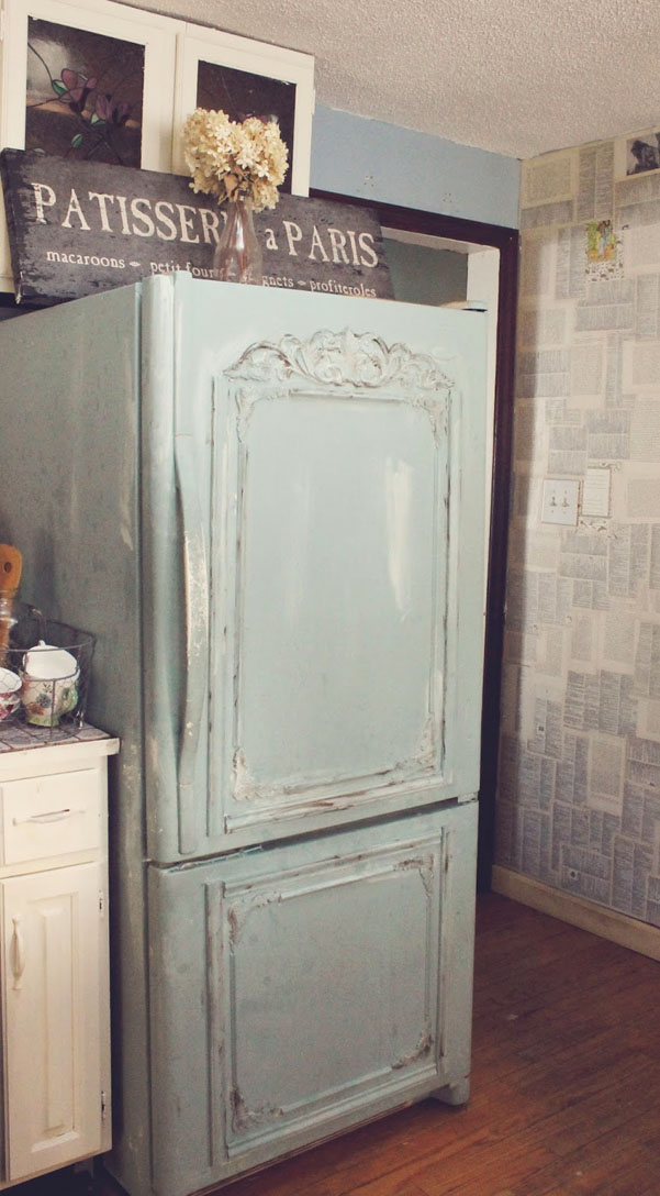 DIY Old Fridge Turned Shabby French