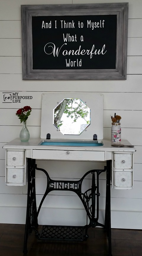 DIY Sewing Machine Turned Into Makeup Vanity