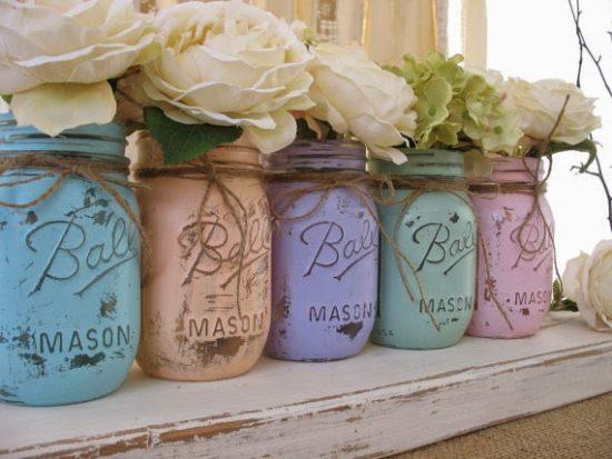 DIY Shabby Chic Mason Jars