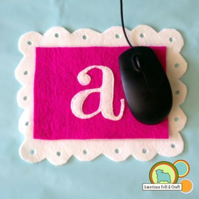 Monogrammed Wool Felt Mouse Pad