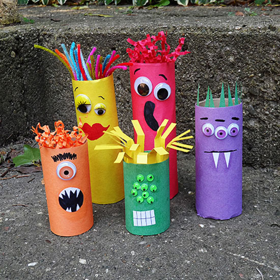 DIY Cardboard Tube Ghoul Family
