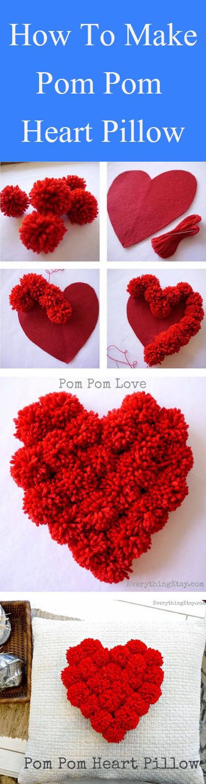 DIY Pom Pom Heart Pillow