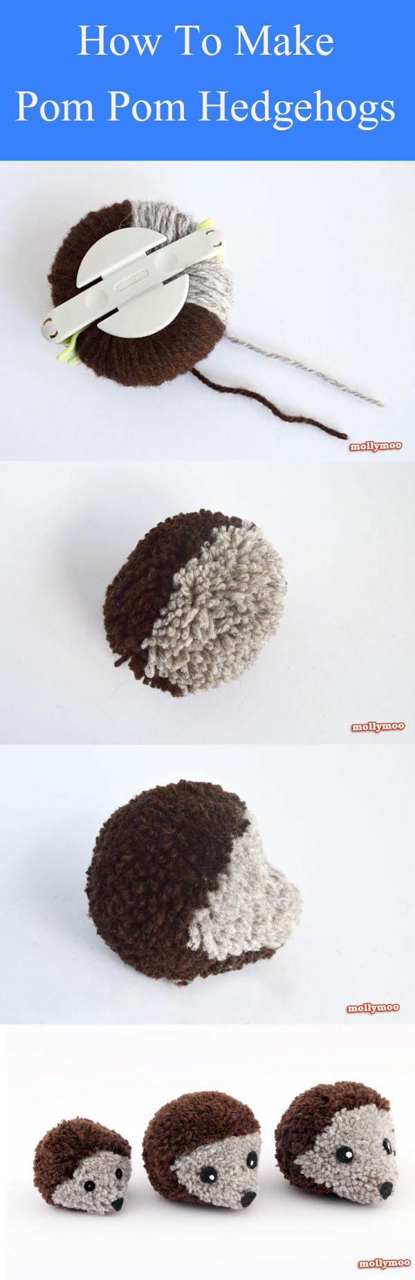 DIY Pom Pom Hedgehogs