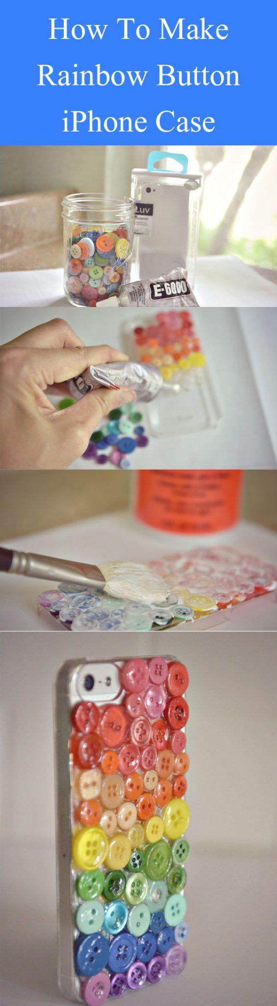 DIY Rainbow Button iPhone Case