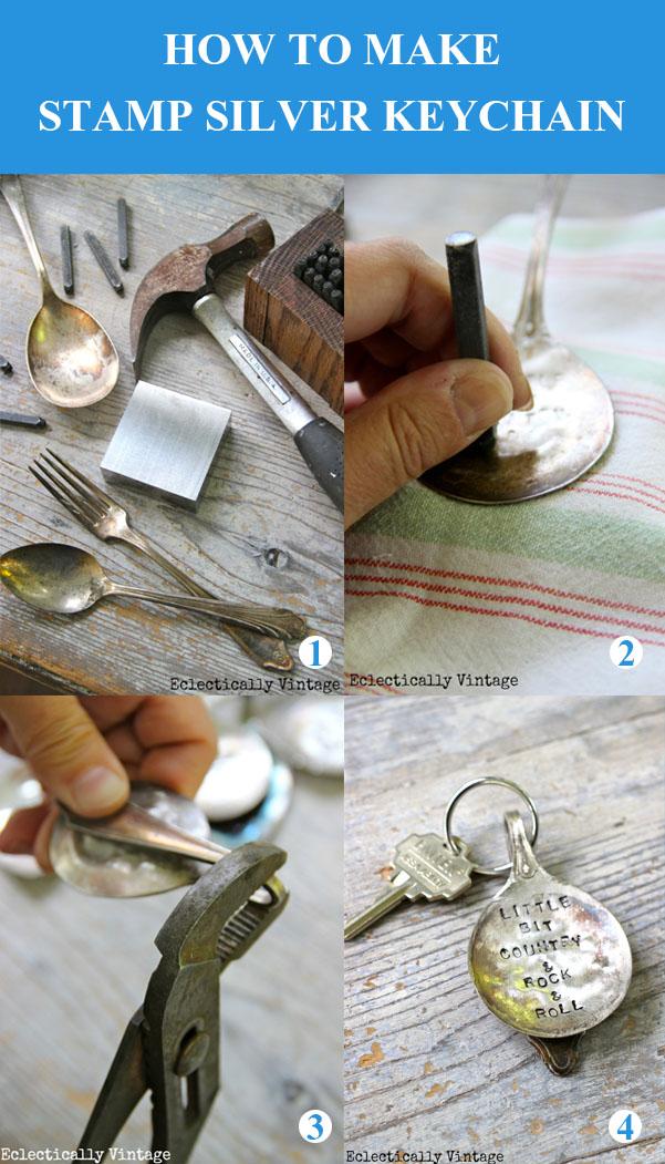 DIY Stamp Silver Keychain