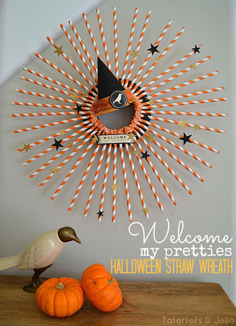 DIY Halloween Straw Wreath