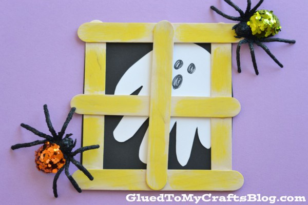 DIY Popsicle Stick Ghost Window